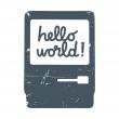 Toile d corative pour chambre b b hello world - Toile pour chambre bebe ...